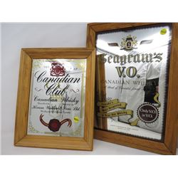 "LOT OF 2 FRAMED MIRRORS (CANADIAN CLUB, 11"" X 13""; SEAGRAM'S, 13"" X 18"")"