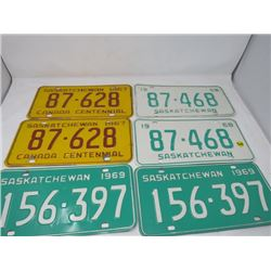 LOT OF 6 SASKATCHEWAN LICENCE PLATES (1967, 67, 68, 68, 69, 69)