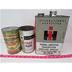 LOT OF 3 OIL CANS (IH TRANSMISSION, TEXACO, IH HY-TRAN)
