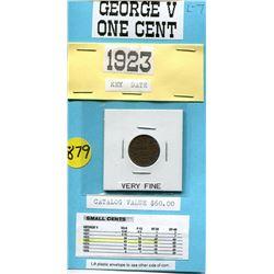 1923 ONE CENT PC (GEORGE V) *RARE DATE* (CATALOG VALUE $60)