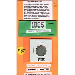 1885 TWENTY CENT PC (NEWFOUNDLAND) *RARE DATE* (CATALOG VALUE $60)