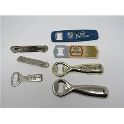 LOT OF 6 BOTTLE OPENERS (2 MOLSON, 1 EA. OLD VIENNA, PILSENER, BIG CHIEF, CARLINS\G, HIGHLANDER)