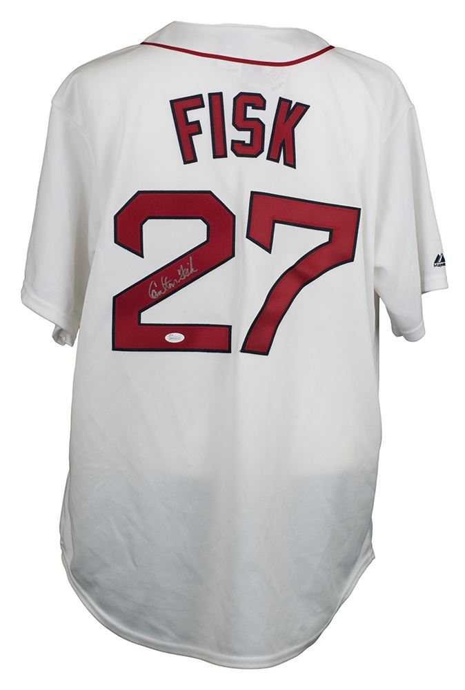 promo code 1b37f 5ecd2 Carlton Fisk Signed Boston Red Sox Majestic Throwback Jersey