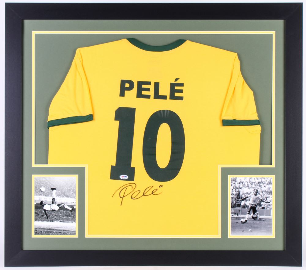 bc1284c847c Image 1 : Pele Signed Brazil 31x35 Custom Framed Jersey (PSA COA)