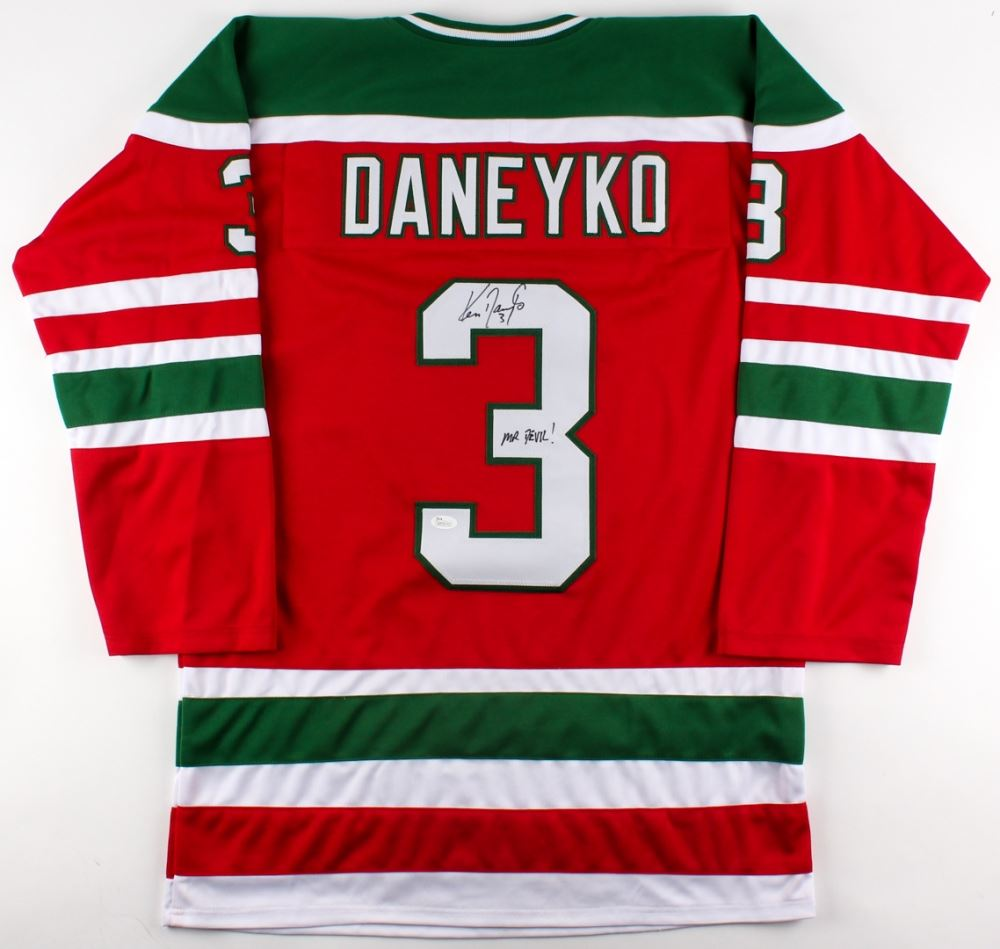 newest 62f5f 9ecd5 Ken Daneyko Signed Throwback 80's Rookie Era Devils ...