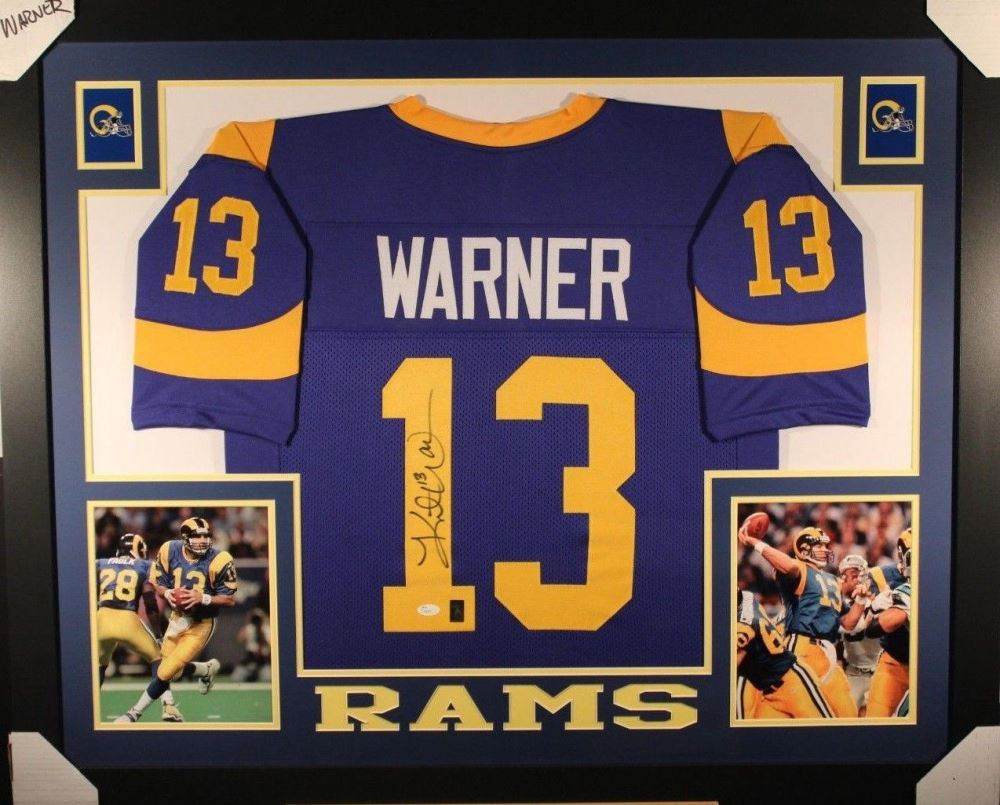 12fa501d Kurt Warner Signed Los Angeles Rams 35x43 Custom Framed Jersey ...