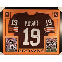 Bernie Kosar Signed Cleveland Browns 35x43 Custom Framed Jersey (JSA COA)