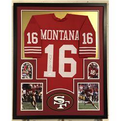 Joe Montana Signed San Francisco 49ers 35x43 Custom Framed Jersey (JSA COA)