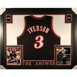 Allen Iverson Signed Philadelphia 76ers 35x43 Custom Framed Jersey (JSA COA)