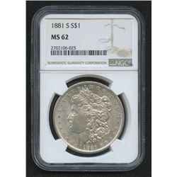 1881-S $1 Morgan Silver Dollar (NGC MS 62)