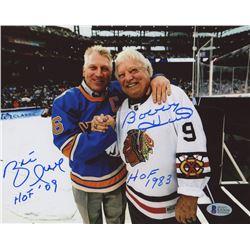 """Bobby Hull  Brett Hull Signed 8x10 Photo Inscribed """"HOF 1983""""  """"HOF '09"""" (Beckett COA)"""