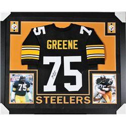 "Joe Greene Signed Pittsburgh Steelers 35x43 Custom Framed Jersey Inscribed ""HOF 87"" (JSA COA)"