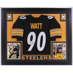 T. J. Watt Signed Pittsburgh Steelers 35x43 Custom Framed Jersey (JSA COA)