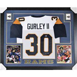 Todd Gurley Signed Los Angeles Rams 35x43 Custom Framed Jersey (Beckett COA)