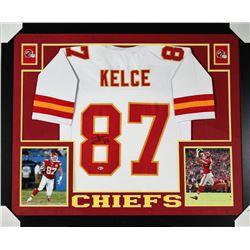 Travis Kelce Signed Chiefs 35x43 Custom Framed Jersey (Beckett COA)