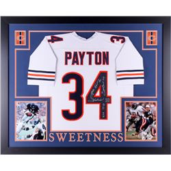 "Walter Payton Signed Bears 35x43 Custom Framed Jersey Inscribed ""Sweetness"", ""75-87"", ""Super Bowl XX"