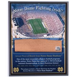 Notre Dame Fighting Irish Game-Used Bench Slab 8x10 Plaque (Steiner COA)