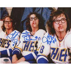 "Jeff Carlson, Steve Carlson  David Hanson Signed ""Slap Shot"" 8x10 Photo (Schwartz COA)"