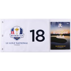 2018 Ryder Cup LE Golf National France Pin Flag with 2018 Ryder Cup Booklet