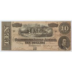 1864 $10 Ten Dollar Confederate States of America Richmond CSA Bank Note