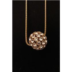 """Gold CZ ball on 28"""" snake chain with 2"""" extension"""