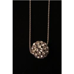 """Silver CZ ball on 28"""" snake chain with 2"""" extension"""