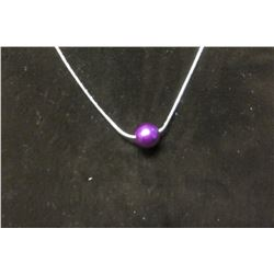"Single purple satin bead pendant on a fine 17"" silver necklace with 2"" extension"