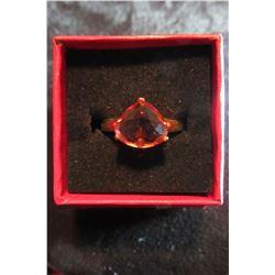 Summer rose swarovski crystal set in gold ring…size 7