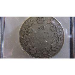 1919 CANADA KING GEORGE V SILVER HALF DOLLAR