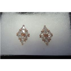 Diamond shaped rose gold earrings with swarovski crystal accents