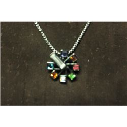"Multi color swarovski crystals on ferris wheel style pendant set in hematite on 17"" necklace with 2"""