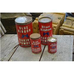 "4-Vintage ""Blue Ribbon"" Tins"
