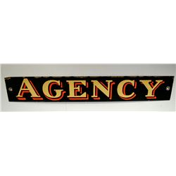 "Porcelain ""Agency"" Sign"