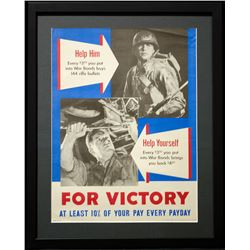 """Rare Vintage """"For Victory"""" war-time Poster"""