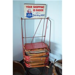 Antique Shopping Baskets and Stand - RARE!