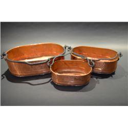 Set of 3 Copper Pots