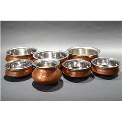 Set of 7 Copper Pots