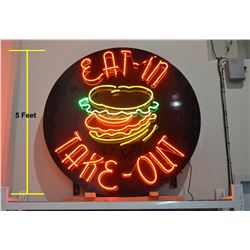 VERY LARGE Neon Food Sign - 5' Dia.
