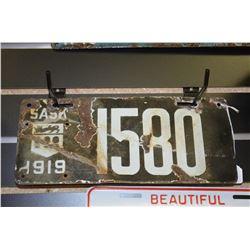 1919 Sask License Plate