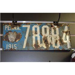 1915 Penn. Licence Plate