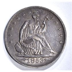 1853 ARROWS& RAYS SEATED HALF DOLLAR, AU/BU NICE