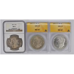 3 CERTIFIED SILVER MORGAN DOLLARS