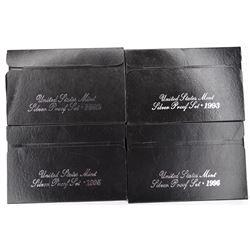 1992, 93, 95, 96 U.S. SILVER Pf  SETS ORIG BOX/COA