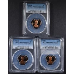 3 PROOF LINCOLN CENTS PCGS PR-69DCAM