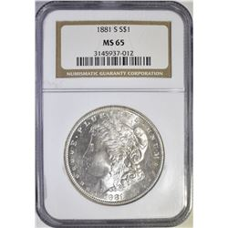 1881 S MORGAN  DOLLAR NGC MS-65