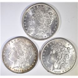 3 BU MORGAN DOLLARS  1886, 89, 96