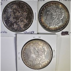 3 CH BU TONED MORGAN DOLLARS  1885-O 80, 96