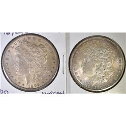 2 CH BU TONED MORGAN DOLLARS  1896, 04-O