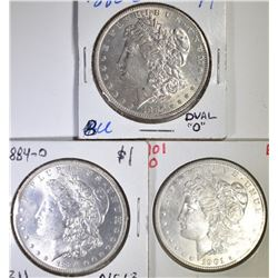 3 BU MORGAN DOLLARS  1880-O, 84-O, 01-O