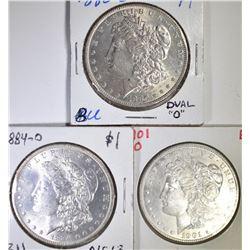 3 BU MORGAN DOLLARS  1880-O, 84-O, 01-O